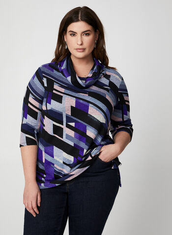 Geometric Print Top, Blue,  Canada, top, tunic, geometrical print, 3/4 sleeves, cowl neck, fall 2019, winter 2019