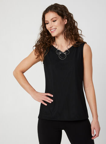 Sleeveless Mesh Top, Black, hi-res,  Canada, top, sleeveless, V-neck, mesh, fall 2019, winter 2019