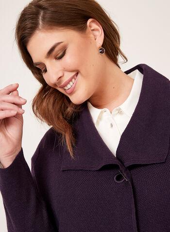 Cardigan ouvert à col drapé en tricot, Violet, hi-res