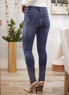 Rhinestone Hem Slim Leg Jeans, Blue