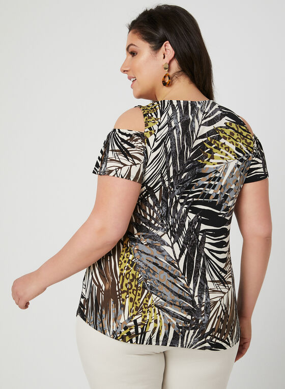 Mixed Print Cold Shoulder Top, Yellow, hi-res
