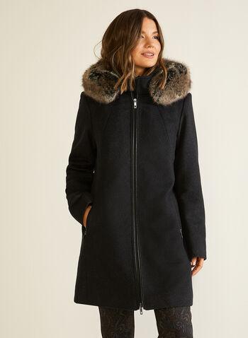 Manteau zippé en laine mélangée, Gris,  automne hiver 2020, manteau, hiver, manteau d'hiver, capuchon, fausse fourrure, boutons, serge, laine, mélange, cuir, poches