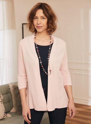 Cardigan ouvert en tricot pointelle, Rose,  cardigan, ouvert, manches 3/4, tricot pointelle, printemps été 2020