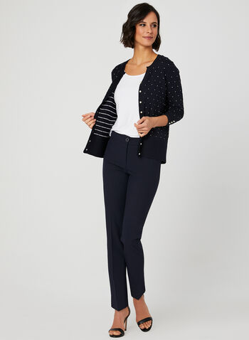 Jacquard Knit Cardigan , Blue, hi-res