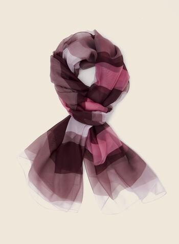 Stripe Print Lightweight Scarf, Purple,  scarf, lightweight, stripe print, chiffon, fall winter 2020