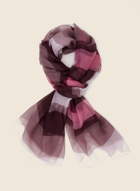 Stripe Print Lightweight Scarf, Purple