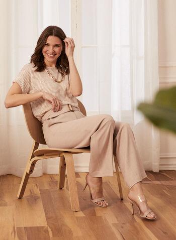 Stripe Print Linen-Like Tee, White,  t-shirt, scoop neck, short sleeves, striped, sheer, linen, spring summer 2020