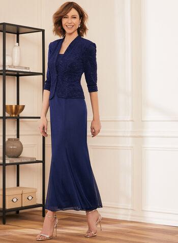 Robe et cardigan en jacquard, Bleu,  robe de soirée, cardigan, jacquard, col carré, sans manches, maille filet, épaulettes, printemps été 2020