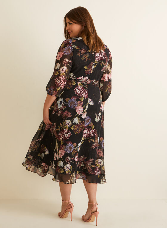 Floral Print Ruffled Hem Dress, Black