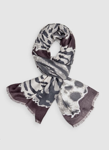 Animal Print Scarf, Red,  scarf, lightweight, animal print, fall 2019, winter 2019