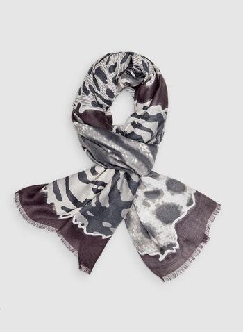 Foulard à motifs animaliers variés, Rouge,  serpent, guépard, zèbre, zébré, léopard, crocodile, automne hiver 2019