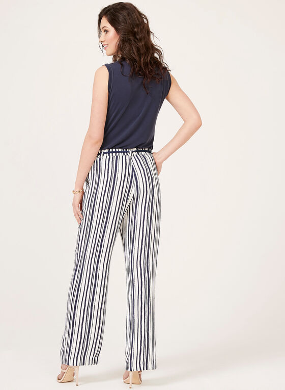 Pull-On Crepe Wide Leg Pants, White, hi-res