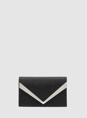 Rectangular Envelope Clutch, Black, hi-res