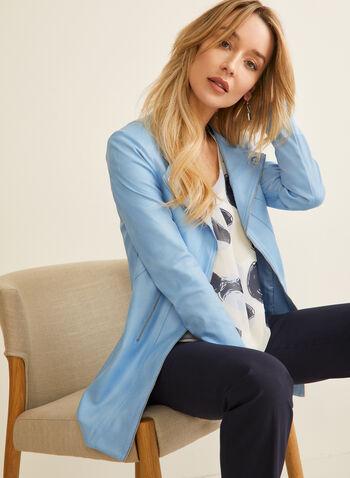 Vex - Veste style redingote en faux cuir, Bleu,  veste, longue, redingote, faux cuir,  manches longues, œillets, zip, printemps été 2020