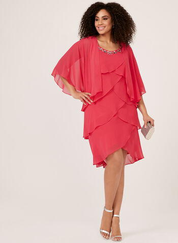 Tiered Chiffon Dress With Bolero, Pink, hi-res