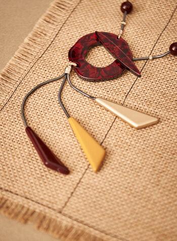 Collier à pendentifs géométriques, Rouge,  accessoires, bijoux, collier, chaîne perlée, formes géométriques, pendentifs, 3 couleurs, automne hiver 2021