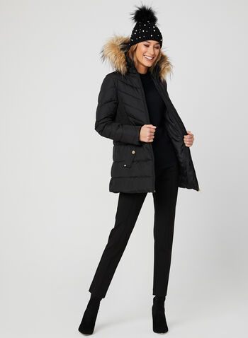 Down Quilted Coat, Black, hi-res
