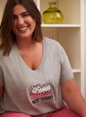 Embroidered Slogan Pyjama Set, Grey,  spring summer 2021, sleepwear, pj, pyjama, set, embroidery, embroidered, message, slogan, fun, tee, capris, t-shirt, dot print, polka dot, pull-on, V neck, short sleeve, cat