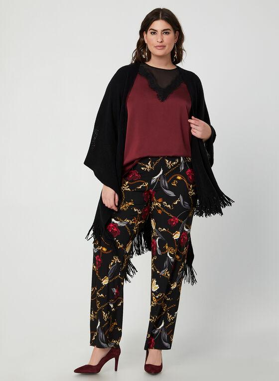 Pantalon pull-on à motif roses et chaînes, Noir