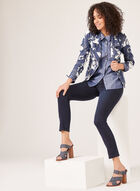 Vex - Open Floral Denim Print Jacket , Blue, hi-res
