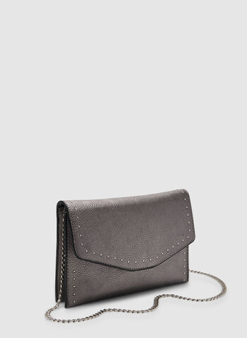 Studded Flap Clutch, Grey,  clutch, evening, flap clutch, envelope clutch, metallic, metallic purse, metallic clutch, fall 2019, winter 2019