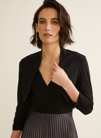 Ruched Sleeve Bolero, Black,  spring summer 2020, 3/4 sleeves, ruching, jersey fabric