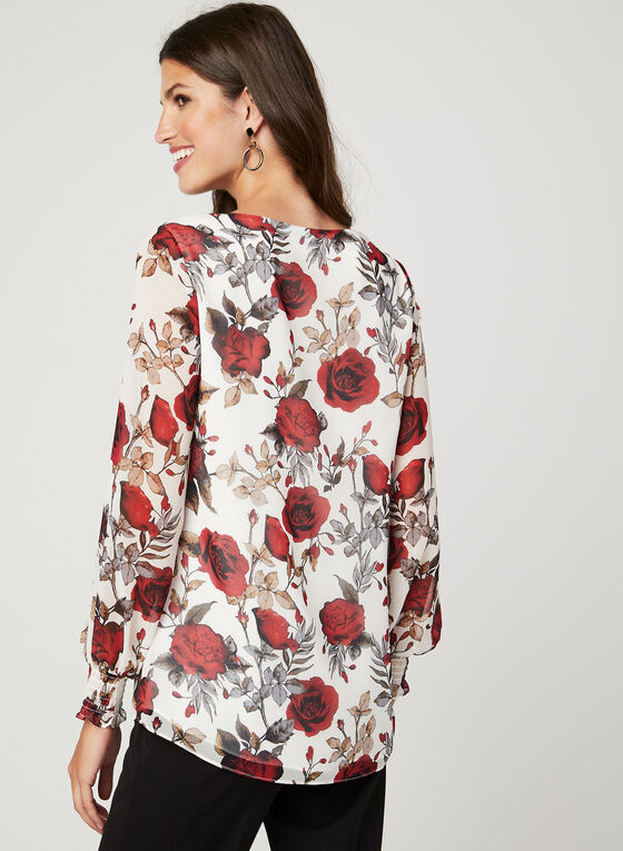 Floral Print Long Sleeve Blouse, White, hi-res