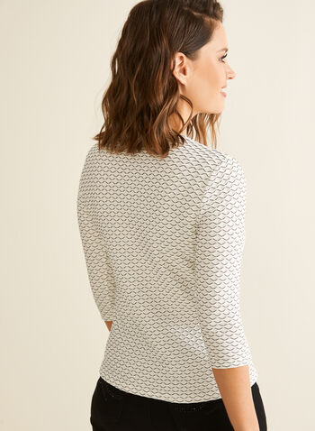 Textured 3/4 Sleeve Top, White,  top, 3/4 sleeves, textured, jacquard, v-neck, spring summer 2020