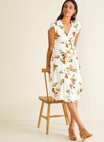 Floral Print Tulip Sleeve Dress, White,  day dress, tulip sleeves, floral, belt, crepe, wrap, v-neck, spring summer 2020