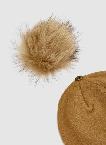 Faux Fur Knit Hat, Brown,  pompom, knit, tuque, hat, faux fur, acrylic, fall 2019, winter 2019