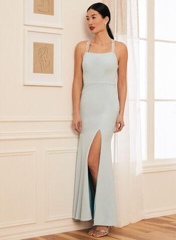 Rhinestone Detail Apron Neck Gown, Blue,  prom dress, column, sleeveless, cowl back, rhinestones, crepe, apron neck, high slit, spring summer 2021