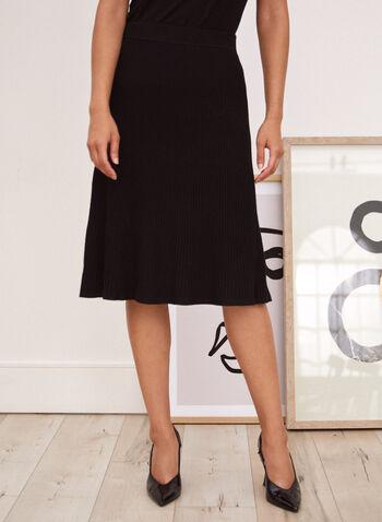 Jupe plissée longueur midi, Noir,  automne hiver 2020, jupe, plissée, plis, midi, pull-on, taille élastique, à enfiler