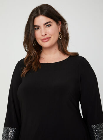 ¾ Sleeve Jersey Dress, Black,  dress, cocktail dress, 3/4 sleeves, long sleeves, jersey, sequins, fall 2019, winter 2019