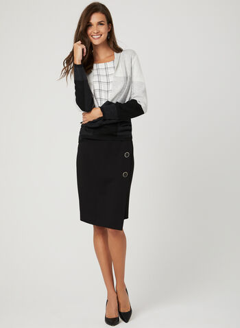 Asymmetrical Button Detail Skirt, Black, hi-res