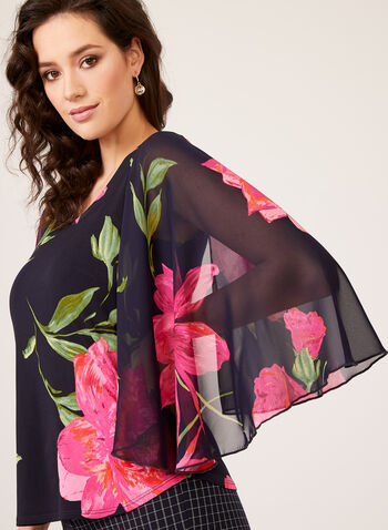 Floral Print Cape Sleeve Top, Blue, hi-res