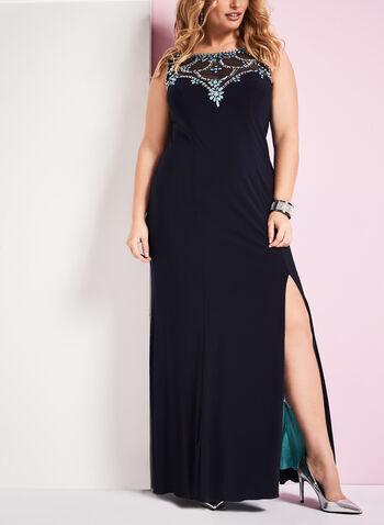 Sleeveless Jewelled Jersey Dress, , hi-res