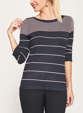 Ottoman Stripe Print 3/4 Sleeve Sweater, , hi-res