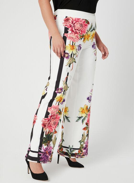 Joseph Ribkoff - Floral Print Wide Leg Pants, White