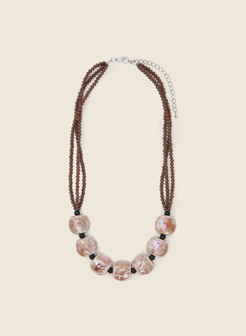 Bead & Cylindrical Stone Necklace, Brown,  necklace, bead, stone, cord, fall winter 2020