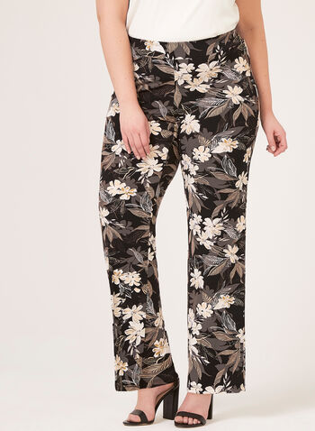 Pantalon floral pull-on à jambe large, Noir, hi-res