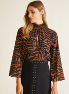 Zebra Print Mock Neck Blouse, Brown