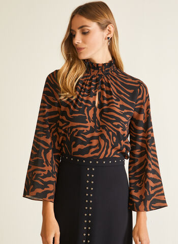 Zebra Print Mock Neck Blouse, Brown,  fall winter 2020, zebra print, blouse, mock neck, 3/4 sleeves, crepe fabric,
