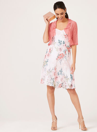 Floral Dress Pointelle Shrug Set