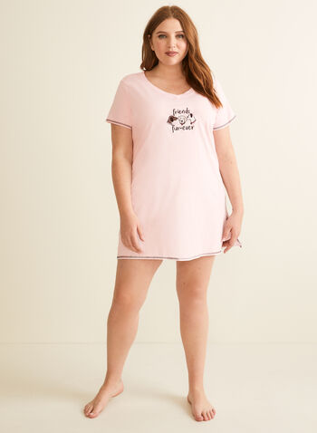 René Rofé - Dog Appliqué Nightshirt, Pink,  pajamas, nightshirt, dog, appliqué, cotton, v-neck, short sleeves, spring summer 2020