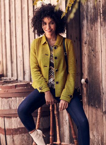 Button Down Knit Blazer, Yellow,  blazer, buttons, shirt collar, tweed, knit, fall winter 2020