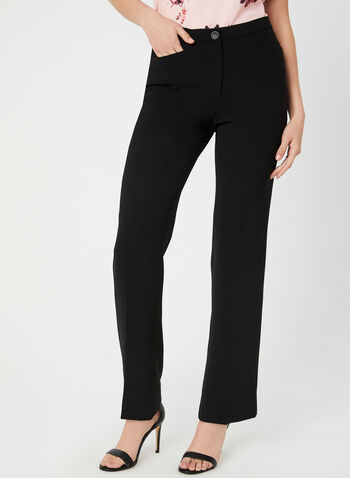 Signature Fit Straight Leg Pants, Black,  elasticized waist, fall 2019, winter 2019