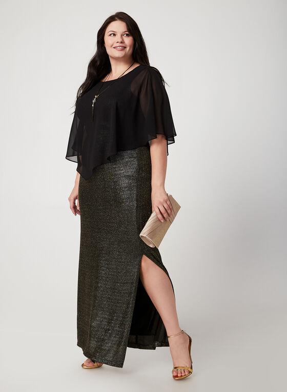 Frank Lyman - Glitter Poncho Dress, Grey