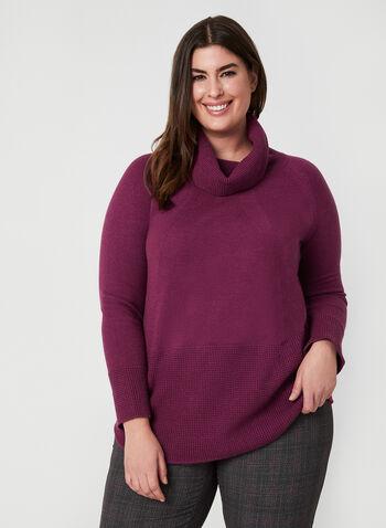 Pull texturé à col bénitier , Violet,  automne hiver 2019, pull, tricot, col roulé, texturé, chandail, manches longues