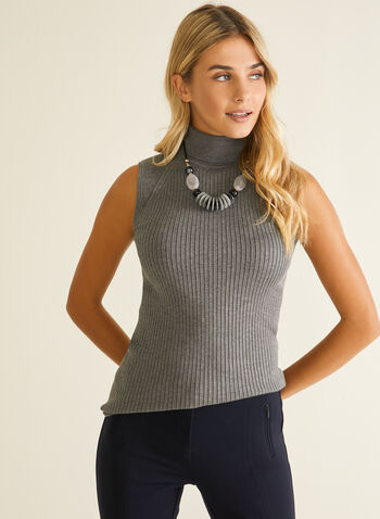 Sleeveless Turtleneck Sweater, Grey,  sweater, sleeveless, turtleneck, ribbed knit