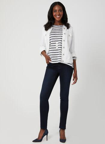 Mode de Vie - Stripe Print Dolman Sleeve Top, Blue, hi-res,  ¾ sleeves, 3/4 sleeves, spring 2019